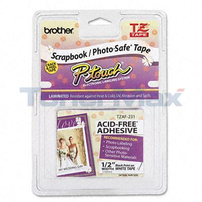 BROTHER TZ SERIES TAPE CTG BLACK ON WHITE 1/2IN